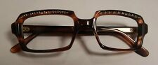 Vintage Raybert Gretl Decor Demi Amber 48/22 Jeweled Eyeglass Frame Nos #306