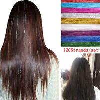 120Strands Hair Tinsel Bling Silk Hair Flare Strands Glitter Rainbow Hair De TDO