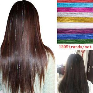 120 Strands Hair Tinsel Bling Silk Hair Flare Strands Glitter Rainbow Hair D /a