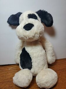 "Jellycat London Bashful Black and Cream Puppy Dog Medium 12"" Super Soft"