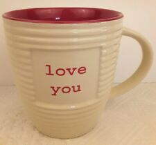 """""""Love You"""" Large Coffee CUP The Old Pottery Company Red and Cream EUC Just Mugs"""