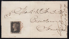 SG2 1840 1d. Black pl. 5 (GL) just touched bottom left, on cover Honiton to C...