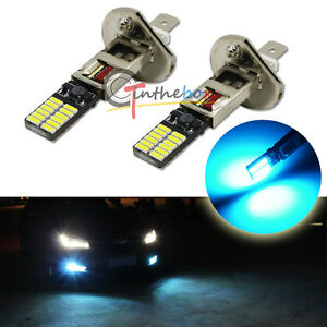 2pcs Ice Blue H1 24-SMD-4014 LED Bulbs For Fog Lamps DRL Daytime Running Lights