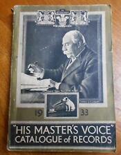 UK HIS MASTER'S RECORD CATALOGUE 1933