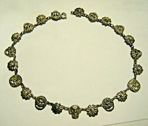 """17"""" Vintage Peruzzi Florence Gothic Faces Sterling 800 Silver Collar Necklace"""