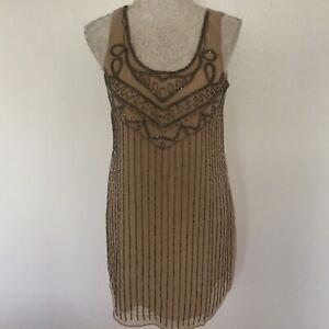 Forever 21 Ladies/Girls Beige & Silver Beaded Short Dress Size S BNWT