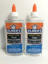 Elmers Clear Liquid Safe Non-Toxic Formula Washable School Glue Bottle 9oz 2 Set