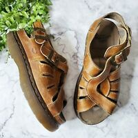 Dr. Martens Vintage 1990s Chunky Brown Leather Twisted Fisherman Sandals 8329 10