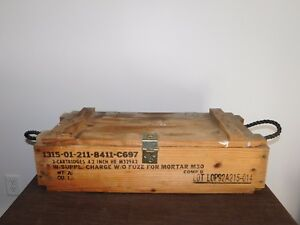 "VINTAGE 27"" X 12"" X 7 1/2"" 1991 GULF WAR ARMY CANNON AMMUNITION MORTAR WOOD BOX"
