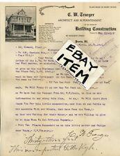 1906 Architect PEORIA ILLINOIS Letterhead C. W. TRAEGER builder HURLBURT STREET