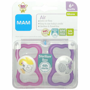 MAM 6+ months soothers air and travel box for girls