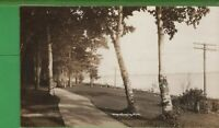 Vintage RPPC Real Photo Michigan MI Postcard Wequetonsing Park Lake