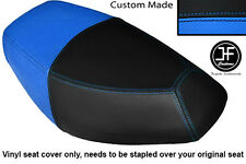BLACK AND LIGHT BLUE VINYL CUSTOM FITS PULSE SCOUT 50 BOATIAN DUAL SEAT COVER