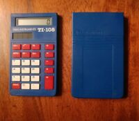 Texas Instruments Solar TI-108 Basic Calculator With Cover Blue Tested & Works