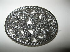 Vines & Rope around the Buckle Belt Buckle C-131 - Silver Plated Flowers,
