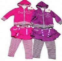 Baby girls Cutey Couture 3 Piece Set leggings hooded jacket skirt pink purple