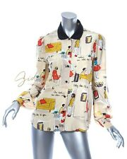 KATE SPADE & GARANCE DORE Cocktail Party Print Martini Silk Blouse Size 6