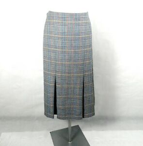 1980s BNWT Red Green Blue and White Check Wool Pleated Skirt by DAKS Size 20