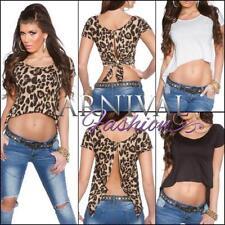 Animal Print Short Sleeve Regular Tops & Blouses for Women