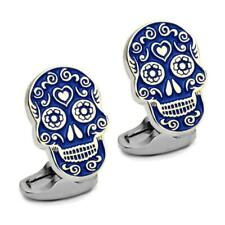 DAY OF THE DEAD CUFFLINKS Blue Enamel Sugar Skull Halloween Skeleton w GIFT BAG