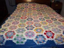 "blue hand pieced quilt top cutter Grandmother's Flower Garden 72"" X 96"" vintage"