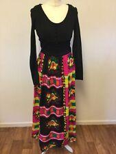Vintage Maxi Dress Sz 8-10 Black Multi Colour Floral Psychedelic 1970s Boho