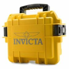New Invicta (3) Three Slot Impact Resistant Yellow Collector Case/Watch Box