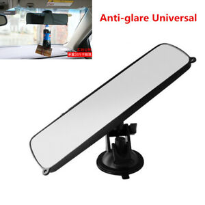 Universal Car Interior Rear View Wide Flat Rearview Mirror TPU Suction Cup Style