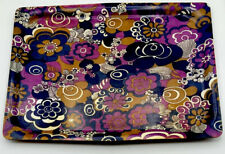 Vintage 70's Mallod Serving Tray Floral Paisley Mauve Mid Century Psychedelic