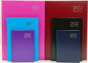 2022 A4 A5 A6 Day to Page / Week To View Diary Full Year Planner Hardback T