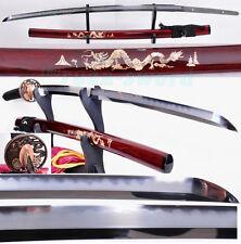 Clay Tempered Folded Steel Abrasive Shinogi Blade dragon Tsuba Japanese katana