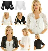 Women Deep V Crop Tops Chiffon Lace Cardigan Open Front Shrug Shawl Sheer Shirts