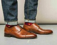 Chaussures habillées en cuir véritable marron pour hommes faits à la main