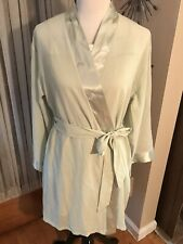 JONES NEW YORK  WILLOW GREEN SATIN TRIMMED GOWN AND ROBE NWT SZ L/XL