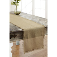 Tobacco Cloth Khaki Runner Fringed 13x36 Rustic Country Primitive