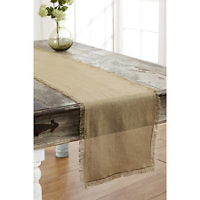 New listing Tobacco Cloth Khaki Runner Fringed 13x48 Rustic Country Primitive
