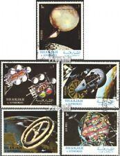Sharjah 1000A-1004A gestempeld 1972 Studie van Zonnestelsel.