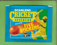 #CC. UNOPENED  PACK OF 1985 SCANLENS CRICKET STICKERS, MADE BY PANINI OF ITALY