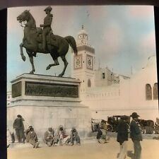 Magic Lantern Glass Slide Photo Algiers Africa Government Palace Statue Color