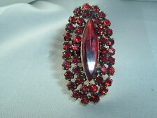 VINTAGE RED RHINESTONE COCKTAIL RING GOLD TONE SIZE 8 ADJUSTABLE BAND