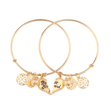 Lux Accessories Best Friends Forever BFF Charm Bracelet Set (2 PC).