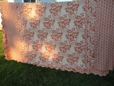 Burnt Orange or Rusty Brown Double Woven Coverlet Autumn Acorn Antique Vintage