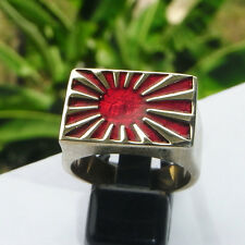 MEN'S IMPERIAL JAPAN WAR FLAG SAMURAI RISING SUN KAMIKAZE RING ww2 navy pacific