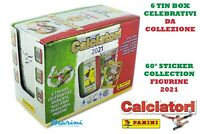 FIGURINE PANINI STICKER CALCIATORI 2021 DISPLAY DA 6 TIN BOX COLLEZIONE COMPLETA