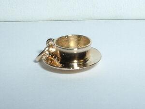14K YELLOW GOLD 3D TEACUP COFFEE TEA CUP CHARM
