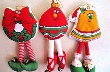 3 Stuffed Flat DANGLE LEGS Bell Ornament Wreath MAGNETIC Christmas Ornaments
