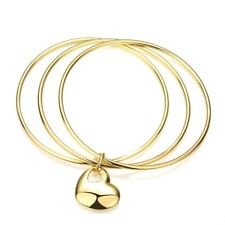 Yellow Gold Filled Love Jewelry 65mm 3 Circles Heart Bangle Bracelet Women's 18K