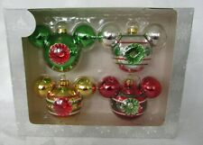 Disney Parks Glass Christmas Ornament Set Mickey Mouse Ears Vintage Inspired NEW