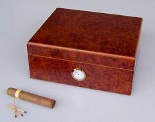 Angelo Humidor Wurzelholz ca 50 Zigarren Hygrometer & Angelo Polymerebefeuchter