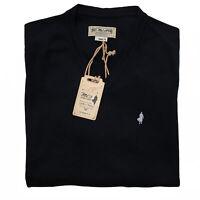 Marlboro Classics MCS Pullover maglione a V cotone sottile uomo nero MCS11